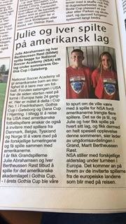 Norway players in their local newspaper
